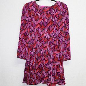 Gianni Bini fit and flare girls chevron pink dress
